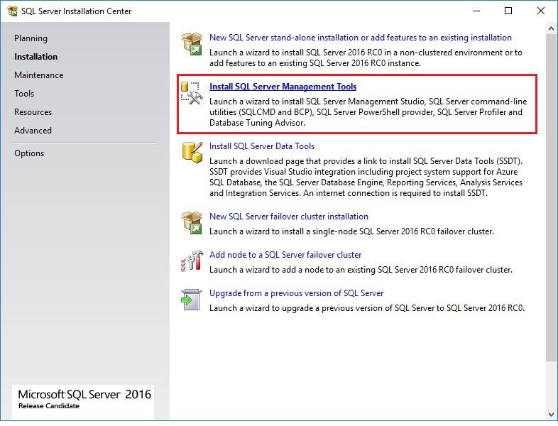 MS SQL Server 2016: How to install SQL Server Management Tools? – Dautti